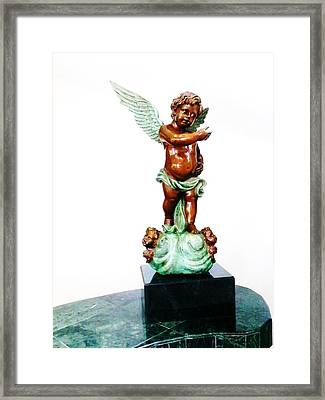 Bronze Angel Framed Print by Unique Consignment