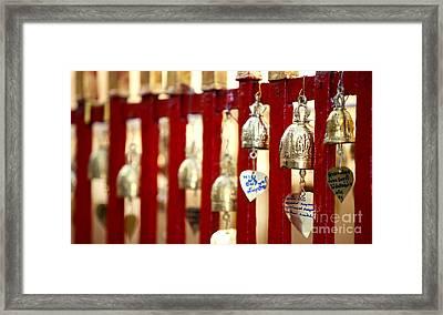 Bronze Bells In Doi Suthep Buddhist Temple Framed Print by Anek Suwannaphoom