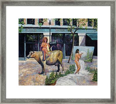 Wife On A Bronze Cow Framed Print
