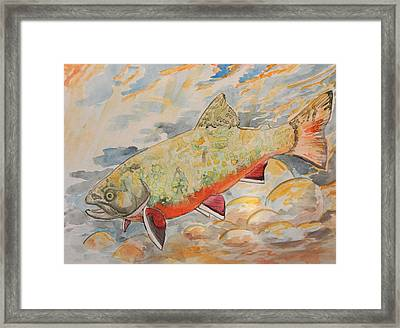 Framed Print featuring the painting Brookie by Jenn Cunningham