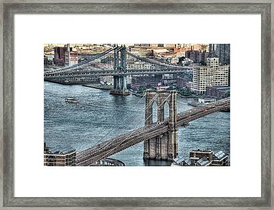 Brooklyn And Manhattan Bridge Framed Print by Tony Shi Photography