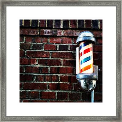 Brooklyn Barber Shop.  Framed Print