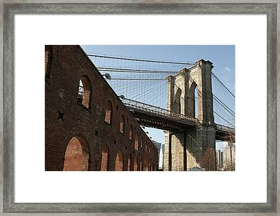 Brooklyn Bridge & Empire Fulton Ferry State Park Framed Print by Just One Film