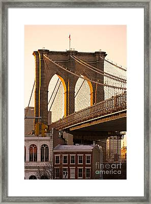 Framed Print featuring the photograph Brooklyn Bridge - New York by Luciano Mortula