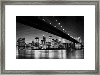 Brooklyn Bridge @ Night Bw16 Framed Print by Scott Kelley