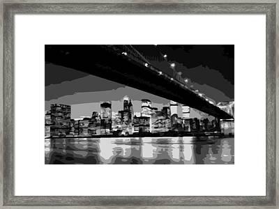 Brooklyn Bridge @ Night Bw8 Framed Print by Scott Kelley