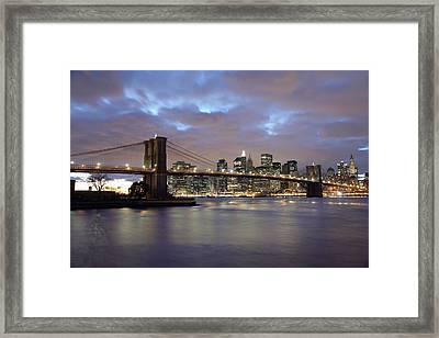 Brooklyn Bridge And Lower Manhattan Framed Print by Axiom Photographic
