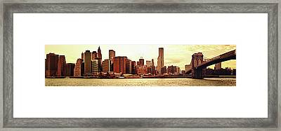 Brooklyn Bridge And New York City Skyline Panorama Framed Print by Vivienne Gucwa