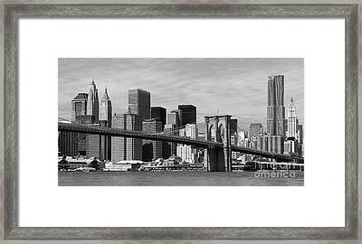 Brooklyn Bridge And Skyline Framed Print by Holger Ostwald