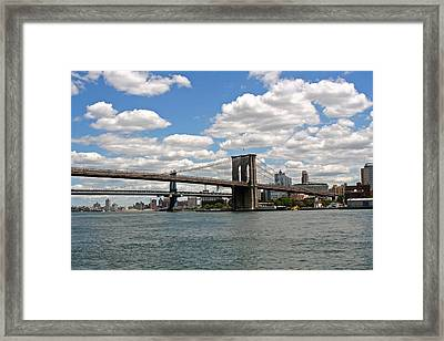 Brooklyn Bridge And Skyline Framed Print