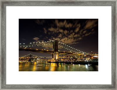 Brooklyn Bridge And Waterfront Framed Print by John Dryzga