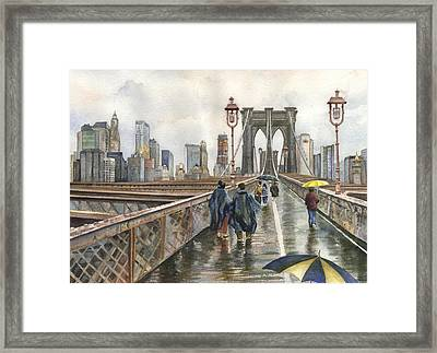 Brooklyn Bridge Framed Print by Anne Gifford