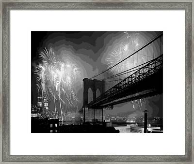 Brooklyn Bridge Fireworks Bw16 Framed Print by Scott Kelley