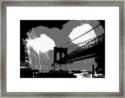 Brooklyn Bridge Fireworks Bw3 Framed Print by Scott Kelley