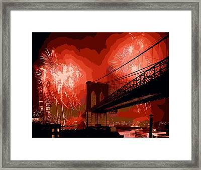 Brooklyn Bridge Fireworks Color 16 Framed Print by Scott Kelley