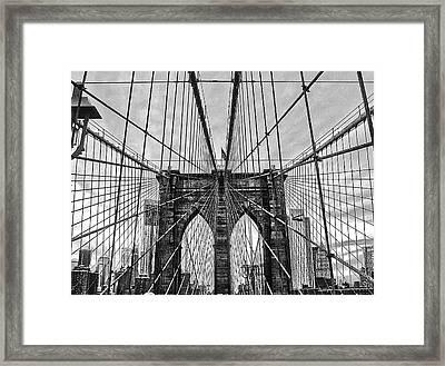 Brooklyn Bridge Lines Framed Print