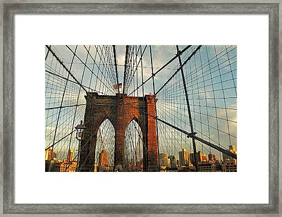 Brooklyn Bridge On A Sunset Framed Print by Alex AG