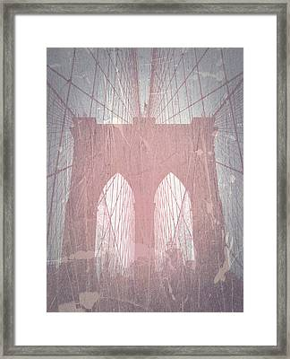 Brooklyn Bridge Red Framed Print by Naxart Studio