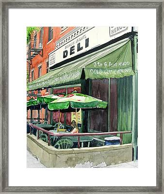 Framed Print featuring the painting Brooklyn Heights Deli by Tom Riggs