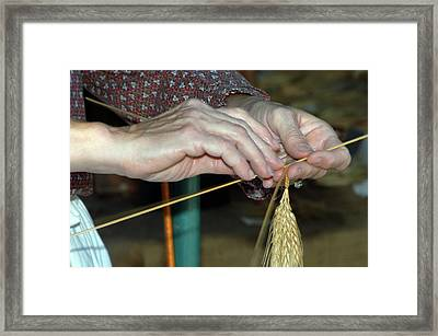 Framed Print featuring the photograph Broom Making by Wanda Brandon