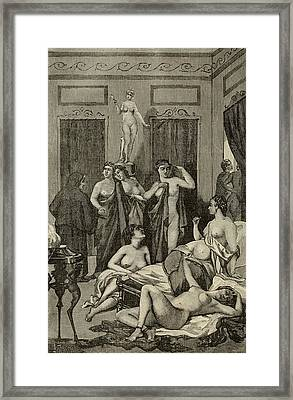 Brothel In Ancient Greece. 19th Century Framed Print by Everett