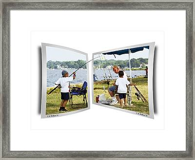 Brothers Fishing - Oof Framed Print by Brian Wallace
