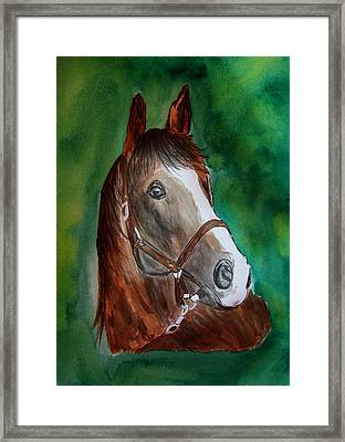 Framed Print featuring the painting Brown Beauty by Alethea McKee