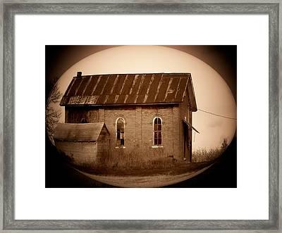 Brown Brick School House Framed Print by Michael L Kimble