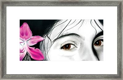 Framed Print featuring the painting Brown Eyed Girl by Dan Menta