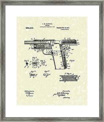 Browning Handgun 1911 Patent Art Framed Print by Prior Art Design