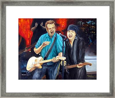 Bruce And Steven At The Apollo Framed Print