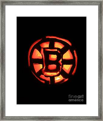 Bruins Carved Pumpkin Framed Print by Lloyd Alexander