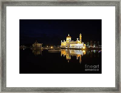 Framed Print featuring the pyrography Brunei Refections.  by Gary Bridger