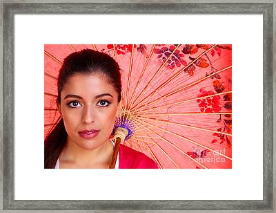 Brunette Woman Woth Chinese Umbrella Framed Print
