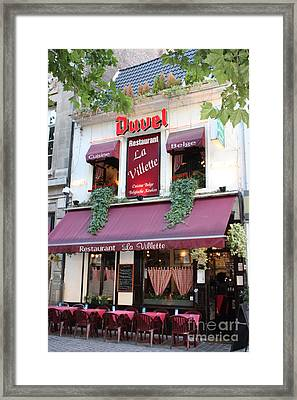 Brussels - Restaurant La Villette With Trees Framed Print by Carol Groenen
