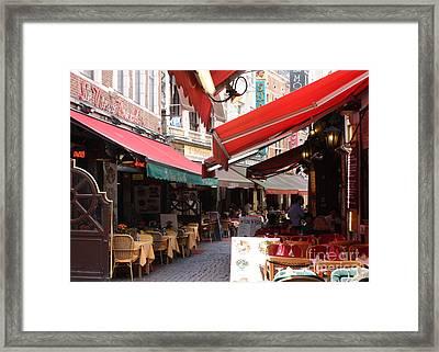 Brussels Restaurant Street - Rue De Bouchers Framed Print by Carol Groenen