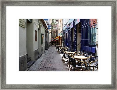 Brussels Side Street Cafe Framed Print