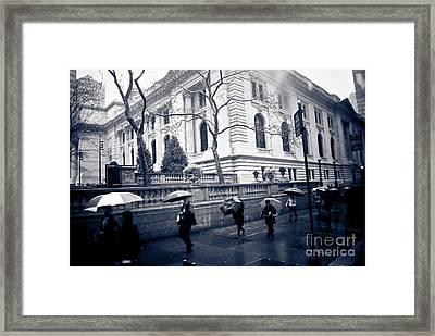 Bryant Park Umbrella Runway Framed Print by Chandra  Dee