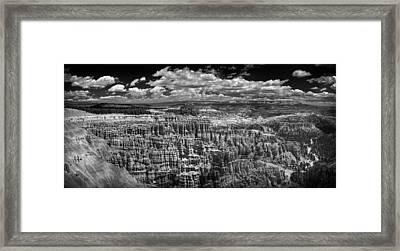 Bryce Canyon - Black And White Framed Print by Larry Carr