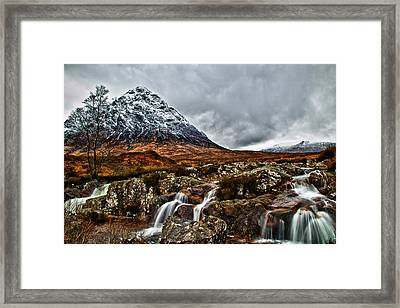 Buachaille Etive Mor With Waterfalls Framed Print by Fiona Messenger