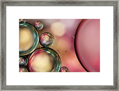 Bubble Abstract With Pink Sparkle Framed Print by Sharon Johnstone