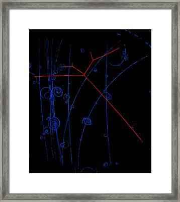 Bubble Chamber Photo Of Proton Tracks Framed Print by Lawrence Berkeley Laboratory