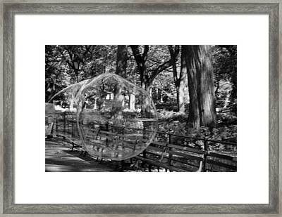 Bubble In Central Park In Black And White Framed Print by Rob Hans