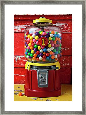 Bubblegum Machine And Gum Framed Print by Garry Gay