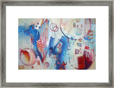 Bubbling Up - Abstract In Blues Framed Print by Susanne Clark