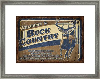 Buck Country Sign Framed Print