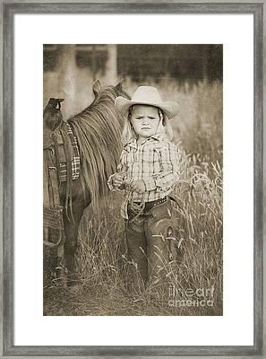 Buckaroo Cowgirl And Horse Framed Print