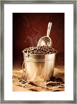 Bucket Of Coffee Beans Framed Print by Amanda Elwell