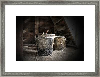 Buckets Framed Print by Christine Annas