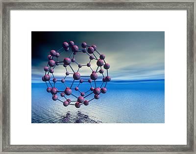 Buckyball (c60) Molecule Over Water Framed Print by Laguna Design